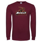 Maroon Long Sleeve T Shirt-Ice Hockey