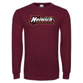 Maroon Long Sleeve T Shirt-Norwich Wordmark