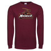 Maroon Long Sleeve T Shirt-Distressed Mark