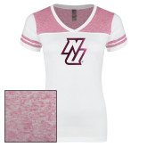 Ladies White/Heathered Pink Juniors Varsity V Neck Tee-NU  Foil
