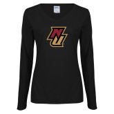 Ladies Black Long Sleeve V Neck Tee-NU