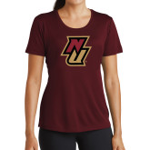 Ladies Performance Maroon Tee-NU