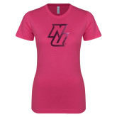 Ladies SoftStyle Junior Fitted Fuchsia Tee-NU  Foil