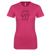 Ladies SoftStyle Junior Fitted Fuchsia Tee-NU Hot Pink Glitter