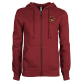 ENZA Ladies Maroon Fleece Full Zip Hoodie-NU