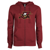 ENZA Ladies Maroon Fleece Full Zip Hoodie-NU Shield