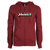 ENZA Ladies Maroon Fleece Full Zip Hoodie-Norwich Wordmark