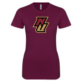 Next Level Ladies SoftStyle Junior Fitted Maroon Tee-NU