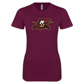 Next Level Ladies SoftStyle Junior Fitted Maroon Tee-NU Shield