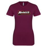 Next Level Ladies SoftStyle Junior Fitted Maroon Tee-Norwich Wordmark