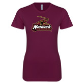 Next Level Ladies SoftStyle Junior Fitted Maroon Tee-Ice Hockey