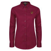 Ladies Maroon Twill Button Down Long Sleeve-NU