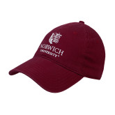 Maroon Twill Unstructured Low Profile Hat-University Mark