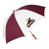 62 Inch Maroon/White Vented Umbrella-Primary Mark