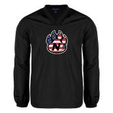 V Neck Black Raglan Windshirt-Official Logo American Flag