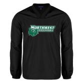 V Neck Black Raglan Windshirt-Northwest Bearcats w/ Cat