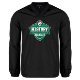 V Neck Black Raglan Windshirt-History Shield Logo