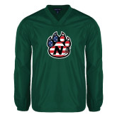 V Neck Dark Green Raglan Windshirt-Official Logo American Flag