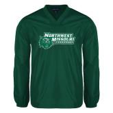V Neck Dark Green Raglan Windshirt-Northwest Missouri Bearcats w/ Cat