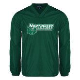 Colorblock V Neck Forest Green/White Raglan Windshirt-Northwest Bearcats w/ Cat