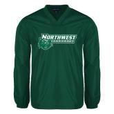 V Neck Dark Green Raglan Windshirt-Northwest Bearcats w/ Cat