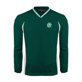 Colorblock V Neck Forest Green/White Raglan Windshirt-Official Logo