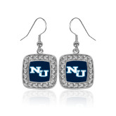 Crystal Studded Square Pendant Silver Dangle Earrings-NU Athletic Mark