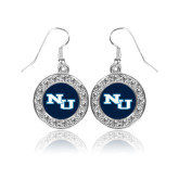 Crystal Studded Round Pendant Silver Dangle Earrings-NU Athletic Mark