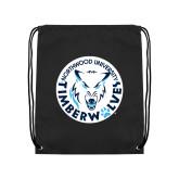 Black Drawstring Backpack-Primary Athletic Mark
