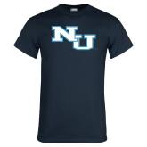 Navy T Shirt-NU Athletic Mark