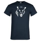Navy T Shirt-Timberwolf Head
