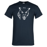 Navy T Shirt-Timberwolf Head Distressed