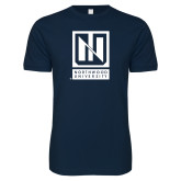 Next Level SoftStyle Navy T Shirt-Institutional Mark Vertical