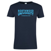 Ladies Navy T Shirt-Northwood University Arched over Timberwolves