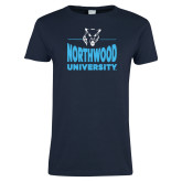Ladies Navy T Shirt-Timberwolf Head over Northwood University