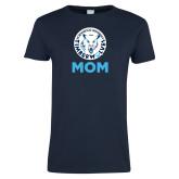 Ladies Navy T Shirt-Mom with Athletic Mark
