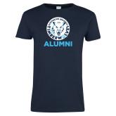 Ladies Navy T Shirt-Alumni with Athletic Mark