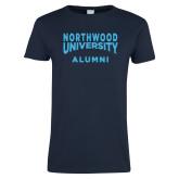 Ladies Navy T Shirt-Alumni with Northwood University Arched