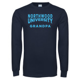 Navy Long Sleeve T Shirt-Grandpa with Northwood University Arched