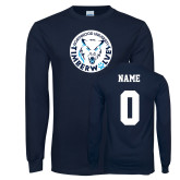 Navy Long Sleeve T Shirt-Primary Athletic Mark, Custom tee w/ name and #