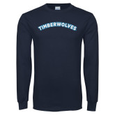 Navy Long Sleeve T Shirt-Timberwolves Arched
