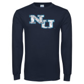 Navy Long Sleeve T Shirt-NU Athletic Mark Distressed