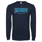Navy Long Sleeve T Shirt-Northwood University Arched over Timberwolves