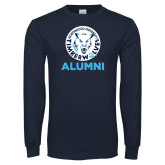 Navy Long Sleeve T Shirt-Alumni with Athletic Mark