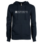 ENZA Ladies Navy Fleece Full Zip Hoodie-Institutional Mark Horizontal