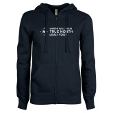 ENZA Ladies Navy Fleece Full Zip Hoodie-Where Will Your True North Lead You
