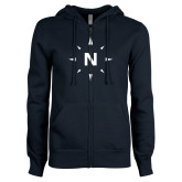 ENZA Ladies Navy Fleece Full Zip Hoodie-North Compass