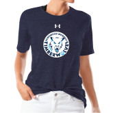 Ladies Under Armour Heather Navy Triblend Tee-Primary Athletic Mark
