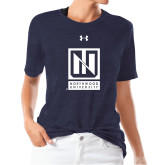 Ladies Under Armour Heather Navy Triblend Tee-Institutional Mark Vertical