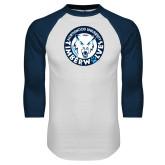 White/Navy Raglan Baseball T Shirt-Primary Athletic Mark